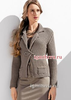 Универсальный серо-коричневый жакет с карманами. Вязание спицами
