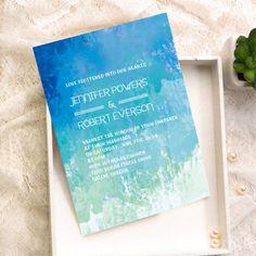 beach shades of blue summer watercolor wedding invitations EWI372 as low as $0.94