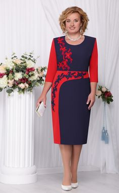 Платье Нинель арт. 2110 синий+красный