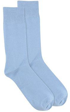 1 Pair of Antonio Ricci Solid Light BLUE Color Men's COTTON Dress SOCKS
