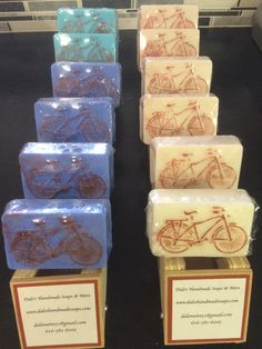 A soap made for the bike lovers, and also makes a great novelty, or gift  for anyone you know who loves to ride a bike.  Made with Goat milk so it has a great creamy lather and comes in two scents.  The white bar is scented with Vanilla Sugar and the blue bars are scented with Black Raspberry.  On the back you will find a label for a local bike shop that gave me the idea.  That is why it is called Main Street Bicycle Company.