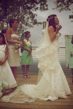 e68542e52 Ivory Long Boho Mantilla Lengh Bridal Veil