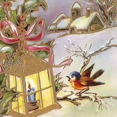 Vintage French Christmas Postcard Bird Winter by VintagePaperAttic