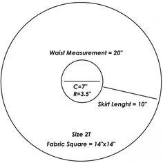 2T Circle Skirt Pattern (Free Printable). Make a quarter pattern, fold cloth into quarters.