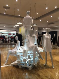 Pallets and mannequins in store display in Selfridges, Trafford Centre, May