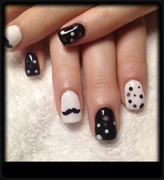 Gel nails- polka dots and mustache Polka Dot Nails, Pink Nails, Gel Nails, Manicure, Polka Dots, Mustache Nail Art, Cool Mustaches, Moustaches, Types Of Beards