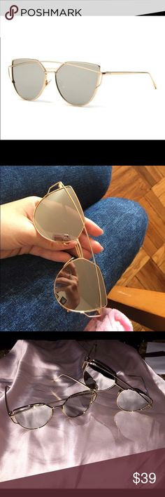 SALE!!!!  Brand new gorgeous sunnies! SALE!!! These are PERFECT!! Gold frames and silver mirrored lenses complete these chic sunnies! The quality of these are awesome! They come with a cloth carrying case. Love em ❤️! Listed under Zara brand for exposure. Not Zara! Zara Accessories Sunglasses