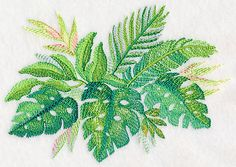 Tropical Leaves in Watercolor 1 design (M4041) from www.Emblibrary.com