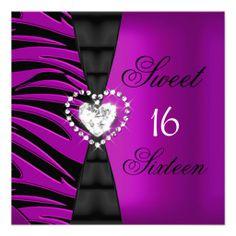 Sweet 16 Sixteen Birthday Party Pink Plum Zebra Personalized Invitation