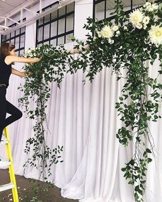 Putting the finishing touches on the floating arbour for today's ceremony. A @patchoulidesign classic! #torontoflorist #patchoulidesign #floristlife #somanyladders