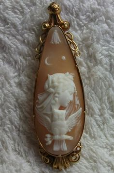 How adorable!! I've never seen an owl on a Victorian cameo before. Cameo ca. 1860. Allegory of the Night.