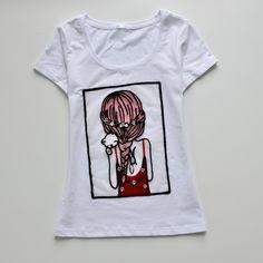 原创刺绣亮片女孩背影图案纯棉T恤衫 好棉好品质-淘宝网