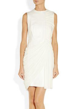 Alexander Wang leather and draped jersey dress