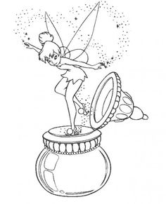 tinker bell large water coloring page opens - Colouring Pages Cartoon Characters