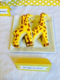 Cute cookies at a giraffe baby shower party! See more party planning ideas at CatchMyParty.com!
