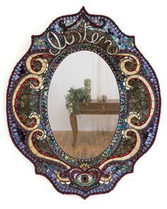 SharraFrank, Listen, 2014  Custom hand sculpted mirror frame covered with Italian glass, mirror, vintage rhinestones, gold, beads & metal filigree. 28″ x 24″ Private Collection, Oakland, California