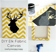 Fall Buffet Decor + DIY Elk fabric Canvas via @craftyscrappyha #fall #DIY