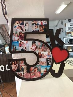 Wooden letter with photos and initials – – Lettre en bois avec photos et initiales – bois – Anniversary Crafts, Anniversary Decorations, Anniversary Dates, Boyfriend Anniversary Gifts, Boyfriends 21st Birthday, Birthday Gifts For Boyfriend, Wooden Initials, Wooden Letters, Presents For Boyfriend