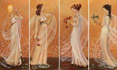 4 Seasons is a painting by Barbara Gerodimou Greek Mythology, Seasons, Statue, Wall Art, Day, Painting, Classroom Management, Calendar, Illustrations