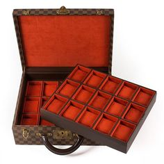Louis Vuitton LV Monogram Damier Brown Canvas Watch Case - Louis Vuitton - Brands - Vintage Luggage Company