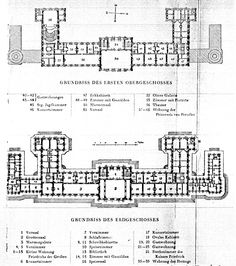 Ground and first floor plans, the Neues Palais, Potsdam (circa 1929).