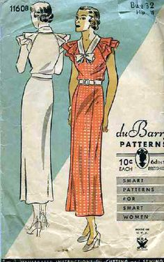 1930's DuBarry Pattern..i have this pattern..i have NEVER seen a harder dress to make.the instructions were drawn by a drunken ardvark..in the dark.while he was blindfolded.