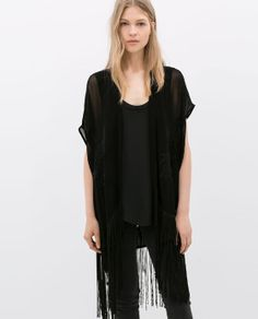 ZARA - COLLECTION AW14 - EMBROIDERED FRINGED WAISTCOAT