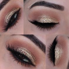 Gold Sparkle eyes    Brow bone: brûlée by Mac Crease: Soft Brown by MAC Below crease: Suntan Matte bronzer by Smashbox Lid: ELF long lasting lustrous eyeshadow Glitter: Sally's Beauty Supply Lashes: House of Lashes in Pixie Luxe