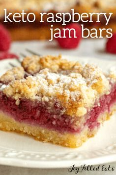 Keto Raspberry Jam Bars are made with plump, juicy, fresh raspberries! Layered with a delicious crust, a raspberry filling, and an incredible crumb topping. This dessert bar recipe is a must-have staple at all your parties. They are gluten-free, grain-free, low carb, and keto too. Sugar Free Cookies, Sugar Free Desserts, Keto Cookies, Gluten Free Cookies, Low Carb Desserts, Gluten Free Desserts, Just Desserts, Healthy Desserts, Best Low Carb Recipes