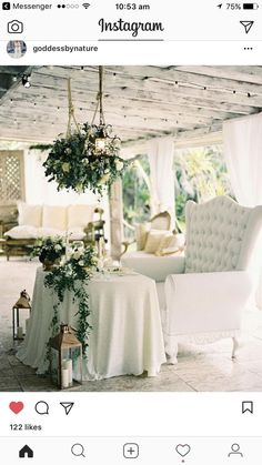 All White with Greenery Sweetheart Table // Garland, Loveseat, lanterns, Rustic Glamour, Wedding