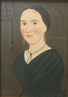 Antique American Folk Portrait attributed to George Hartwell.