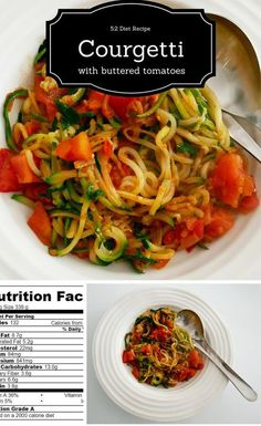 Diet Recipe - courgetti with buttered tomatoes - a simple way to make a delicious meal with nothing more than a fresh tomato, courgette and a small shallot. 132 calories per helping - even with the butter. Add a little grated parmesan if you are loo 2000 Calorie Diet, Low Calorie Recipes, Diet Recipes, Healthy Recipes, Healthy Foods, Healthy Eating, Zucchini Zoodles, Zucchini Spaghetti, Kale Crisps
