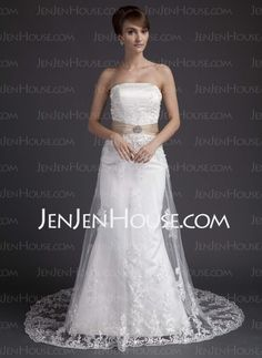 Wedding Dresses -  A-Line/Princess Strapless Court Train Satin  Tulle Wedding Dresses With Lace  Sashes (002011998) http://jenjenhouse.com/A-line-Princess-Strapless-Court-Train-Satin--Tulle-Wedding-Dresses-With-Lace--Sashes-002011998-g11998
