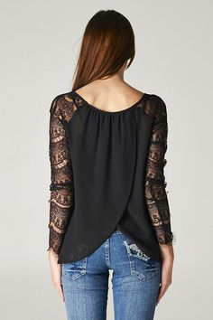 Black, Lace Sleeve Felicia Blouse with cross draping in the back