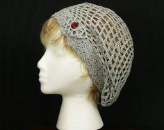 Summer hipster hat Crocheted lace beret Women's crochet Beanie hat Boho Mesh beanie slouchy Hand crochet mesh hat Bohemian accessories