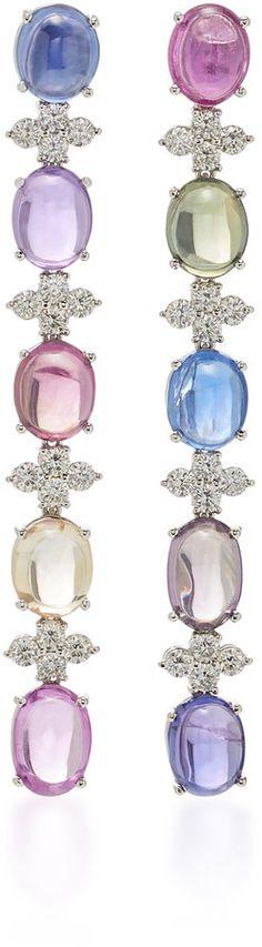 Gioia 18K White Gold, Sapphire And Diamond Earrings