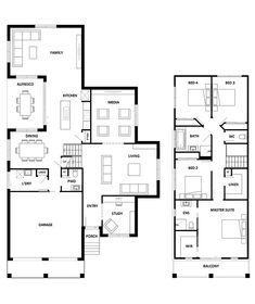 Killalea 298 Home Design - House Design Killalea 298 Split Level Floor Plans, New Home Designs, Open Plan Kitchen, Large Homes, Outdoor Living, Living Spaces, New Homes, House Design, How To Plan
