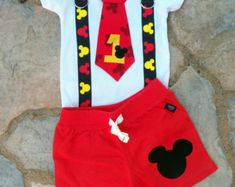 Mickey Mouse Inspired Birthday Tie and Suspender by shopantsypants