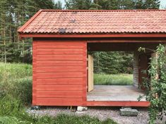 Red Cottage, Interesting Buildings, Pavilion, Perfect Place, Countryside, Art Nouveau, Shed, Villa, Outdoor Structures