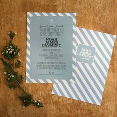 Candy Stripe Christening Invitation