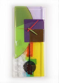 """""""Tumbling Colors"""" Art Glass Pendulum Clock"""