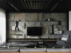 Home Decoration For Ganpati Stone Interior, Interior Walls, Living Room Interior, Home Interior Design, Interior Architecture, Interior Decorating, Stone Wall Design, Tv Wall Design, House Design