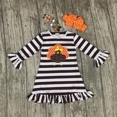 e4c8008a9a922 thanksgiving baby girls kids Fall striped brown outfits dress turkey  boutique cotton ruffle children clothes match accessory - Jadeline Clothing  Co.
