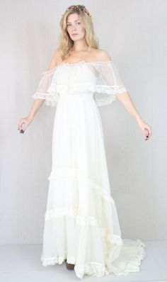 Vtg 60s/70s Cream Sheer Boho Hippie Wedding by ragdollvintage, LOVE!!!