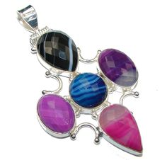 $32.00 Large! Excellent Botswana Agate Silver Overaly Pendant at www.SilverRushStyle.com #pendant #handmade #jewelry #silver #agate