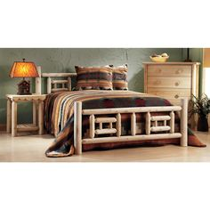 Rustic Natural Cedar Furniture Company® Log Bed, Side Table and 5 - drawer Dresser. Deluxe, natural, handcrafted.  http://www.sportsmansguide.com/net/cb/cedar-log-furniture-by-rustic-natural-cedar-furniture-company.aspx?a=413216