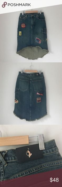 Baby Phat Denim Hi-Lo Patch Skirt Size 7 Edgy Denim hi-Lo patch skirt by Baby Phat. Size 7. EUC. Baby Phat Skirts High Low