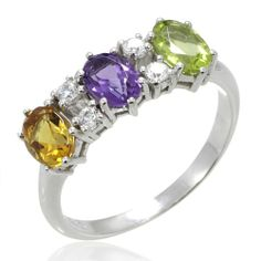 LenYa Lady Rhodium Plated Silver Ring with Peridot, Amethyst, Citrine and 5A Cubic Zirconia (Ring Size 6.4, 6.75, 7, 8, 9) -