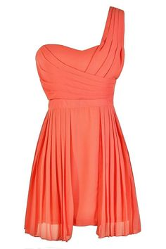 #Lily Boutique - #Lily Boutique Pretty Pleats One Shoulder Chiffon Dress in Coral - AdoreWe.com
