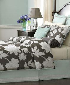 panache bedding: teal seafoam green white paisley pattern king
